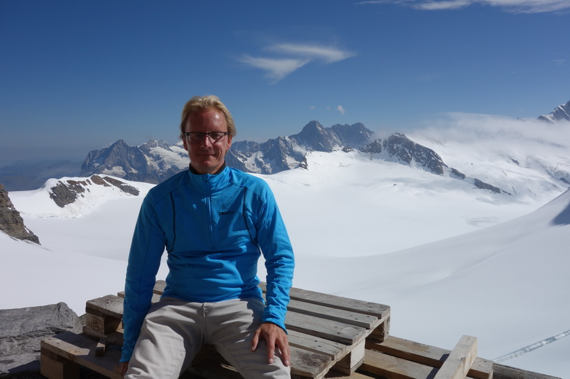 Stefan vid Mönchsjochhütte.