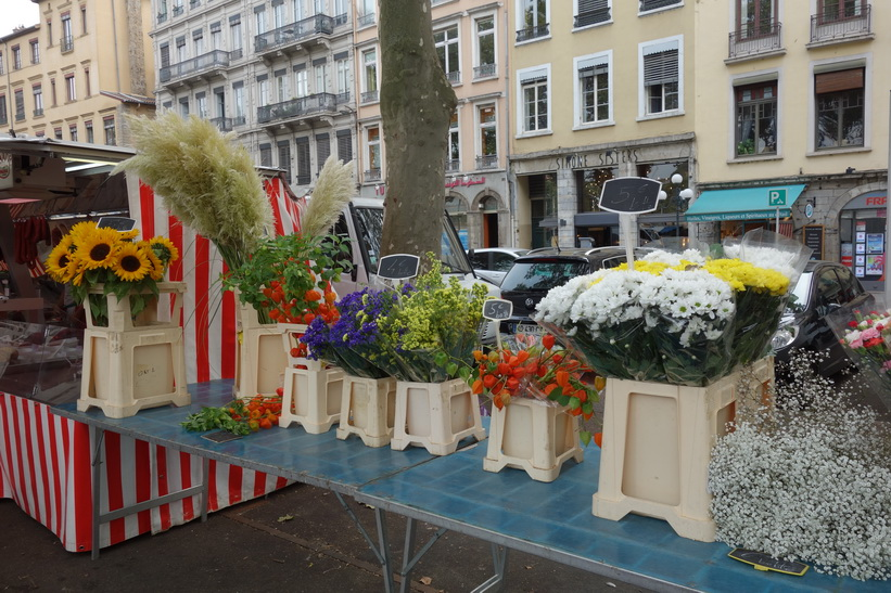 Marknad vid floden Saône, Lyon.