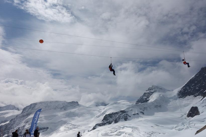 Zipline vid Jungfraujoch.