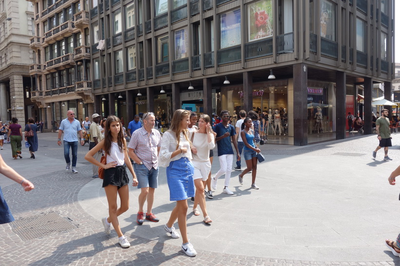 Gågatan Corso Vittorio Emanuele II, Milano.