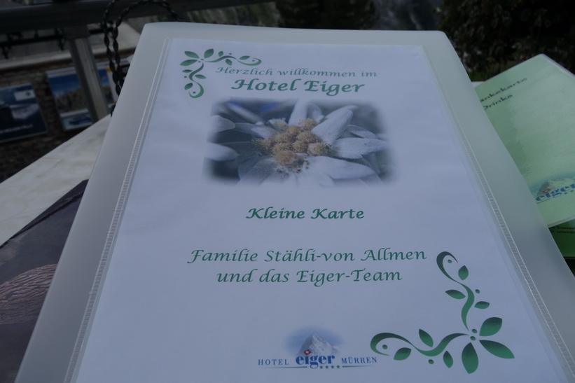 Menyn på Hotel Eiger, Mürren.