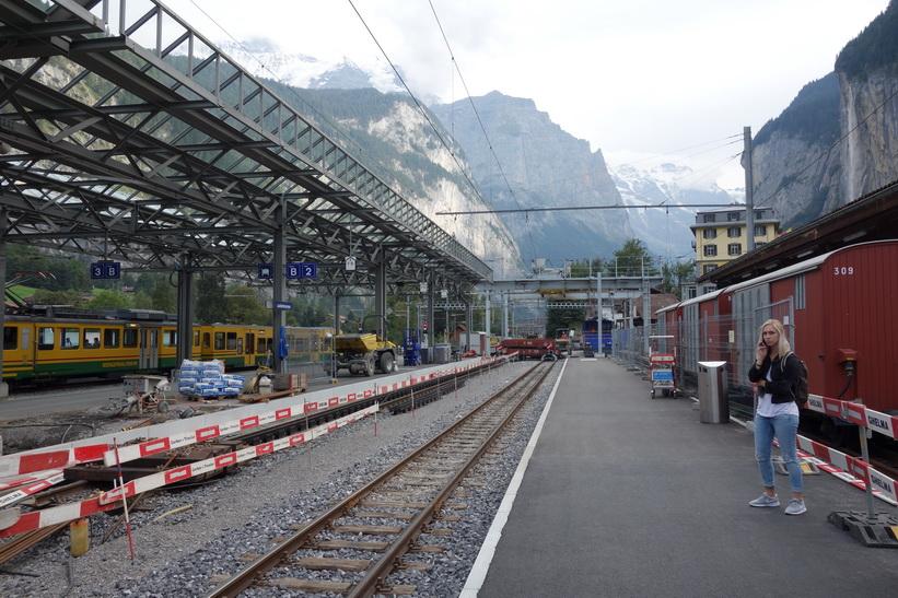 Tågstationen i Lauterbrunnen.
