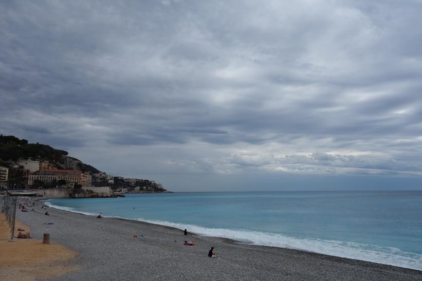 Stranden i centrala Nice.