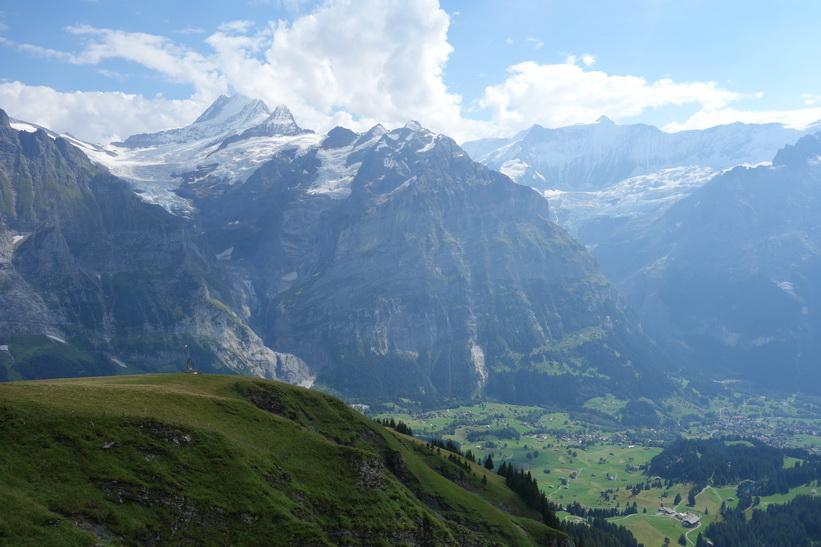 Utsikten mot Wetterhorn till vänster i bild och Grindelwald nere i dalen från First.