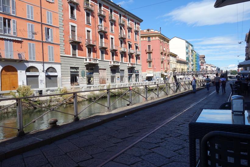 Mysiga stadsdelen Navigli, Milano.