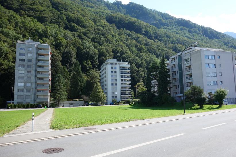 Bostadsområde med hyreshus i Vaduz.