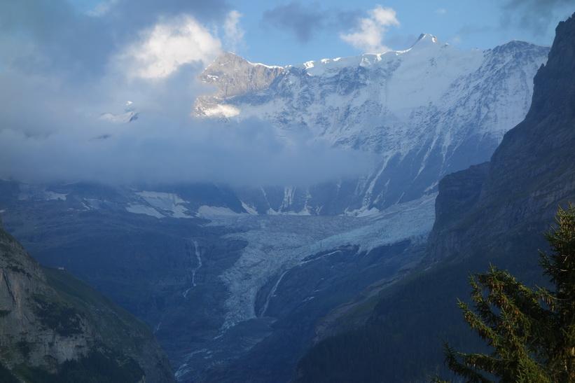 Oberer Grindelwaldgletscher. Den långa vandringen från Bachsee (2265 m.ö.h.) hela vägen ner till Grindelwald (1034 m.ö.h.).