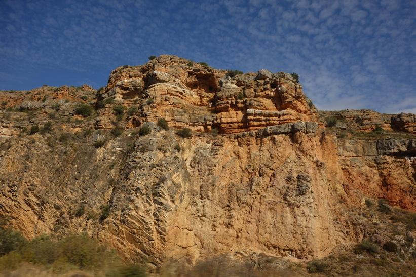 Landskapet utanför tågfönstret någonstans mellan Zaragoza och Madrid.