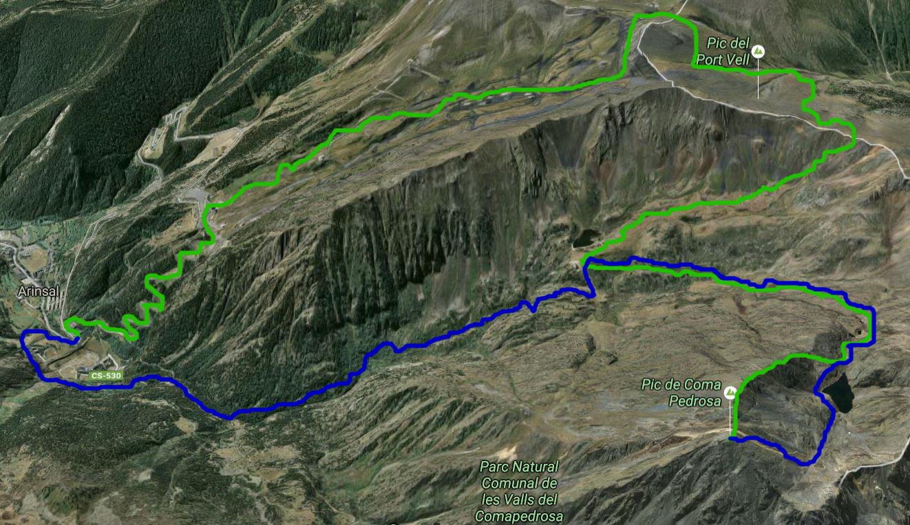 Bild som visar min bestigning av Coma Pedrosa. Den gröna linjen visar vilken väg jag tog upp, och den blå visar vägen jag tog ner tillbaka till Arinsal.