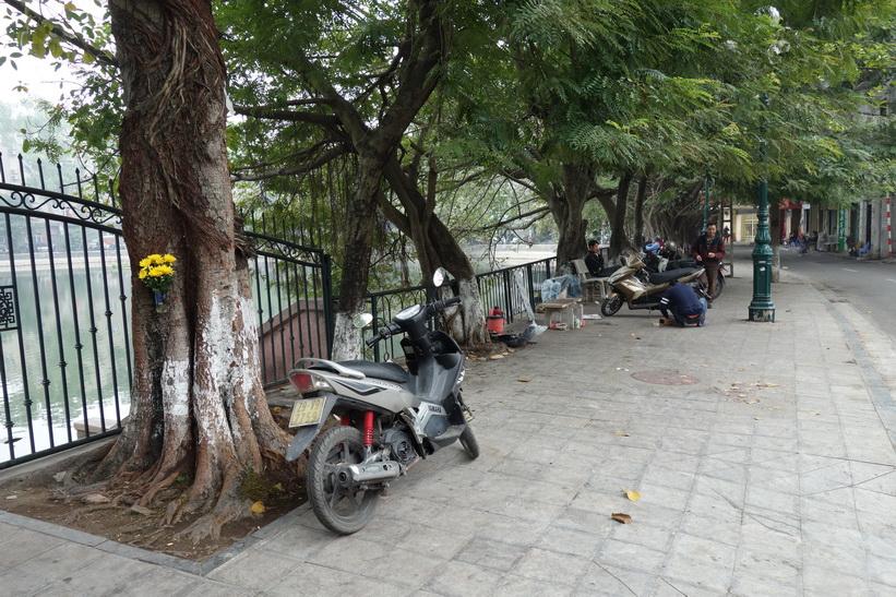 Gatuscen vid Hai Ba Trung-sjön, Hanoi.