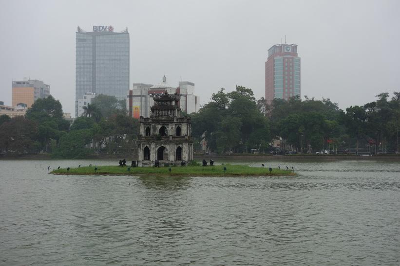Turtle Tower (Tháp Rùa på vietnamesiska), Hoan Kiem-sjön, Hanoi.