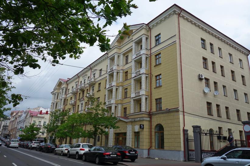 Vacker i arkitektur i centrala Minsk.