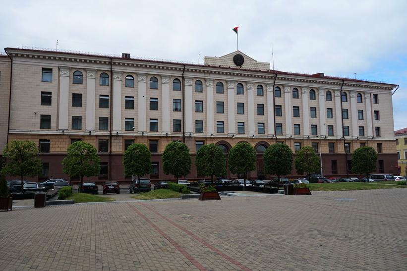 Stalinistisk arkitektur vid October Square, Minsk.
